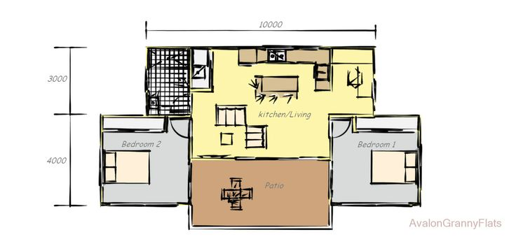 Plateau - 2 bedroom with an internal + external total space of 92 sqm. Designed by Avalon Granny Flats and available as a kit home or full build anywhere within Australia. Enquire through: http://avalongrannyflats.com.au/