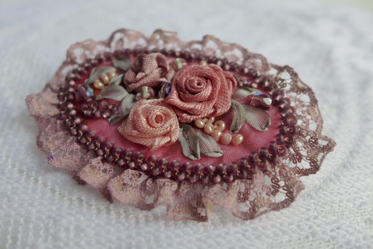 Pink- purple victorian style cameo brooch-necklace pendant-hair accessory one of a kind textile jewelry with silk ribbon embroidered roses by Virvi on Etsy