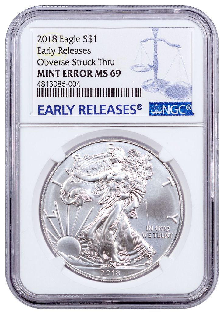 2018 American Silver Eagle Mint Error Obverse Struck Thru NGC MS69 ER SKU53796 #Silver #Coins