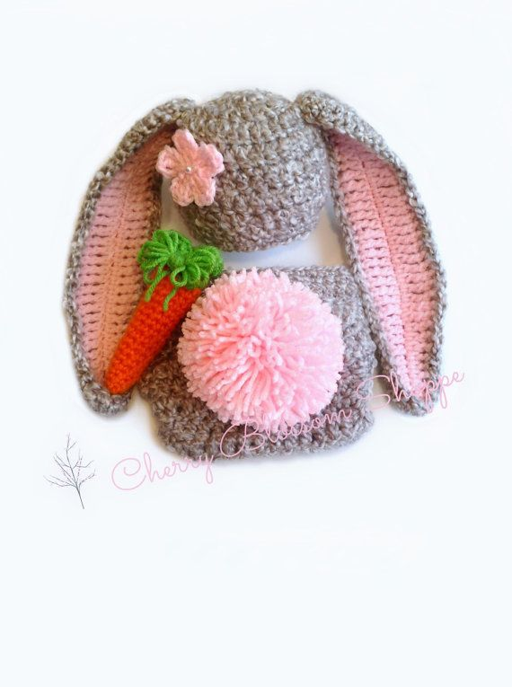 Newborn Crochet Outfit Newborn Bunny Outfit by CherryBlossomShoppe