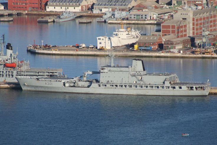SAS Drakensberg with SAS Protea in the background (white survey vessel)