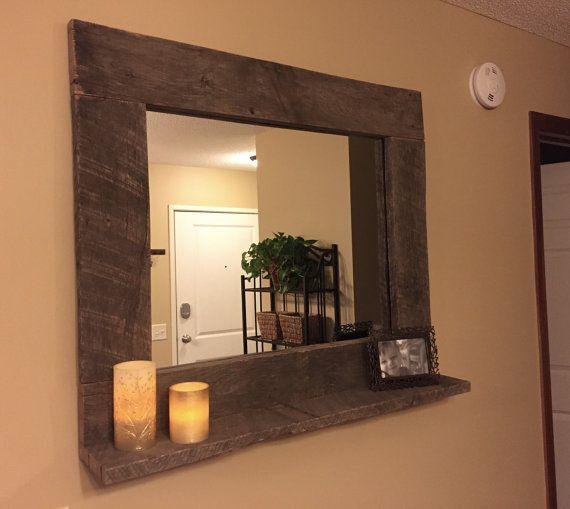 Rústico madera espejo plataforma muebles por NCRusticdesigns