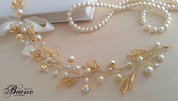 Bridal Crown Gold Headband Wedding Hair Accesories by Bianoco