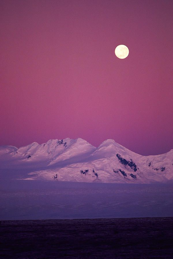 ~~Moonrise Over Snowy Mountain ~ full moon pink night sky, Patagonia, Argentina by Stockbyte~~