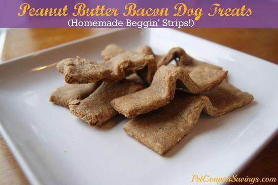 Homemade Peanut Butter Bacon Dog Treats- Homemade Beggin Strips