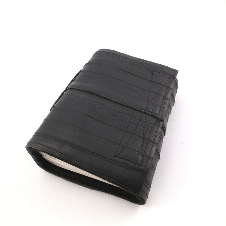 Recycled journal, bike inner tube, blank pages, black linen and black velcro closure, small. by palepink on Etsy