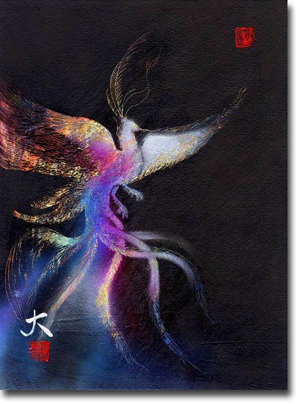 新月紫紺大作の鳳凰の絵 タイトル「天子の翼」