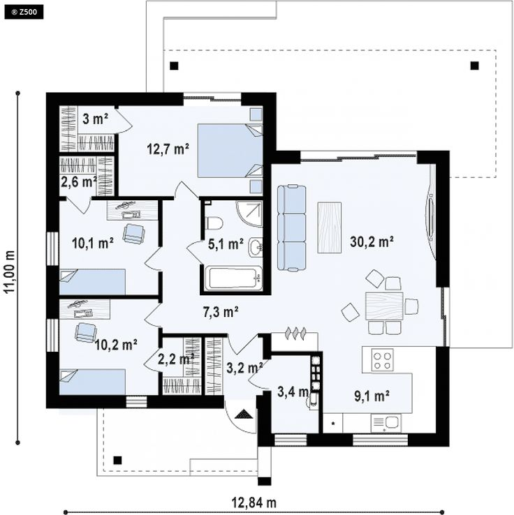 Projekt domu Zx105 B Kompaktowy dom w nowoczesnym stylu z trzema pokojami oraz…