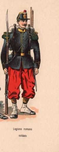 """Legions Roman or Legion of Antibes. French Catholic soldiers (mainly from Alsace). Their uniforms and equipment were basically French issue with pontifical buttons and badges; there officers retained their French commissions. [Faction: """"Papal States"""" (information and images)]"""
