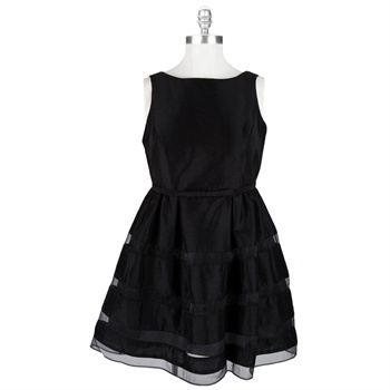 Taylor Plus Size Fit 'n Flare Organza and Shantung Dress #VonMaur #Taylor #Dress