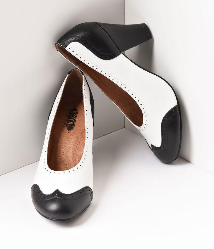 1930s Style Shoes Royal Vintage 1940s Style Black  White Spectator Peggy Pumps Shoes $150.00 AT vintagedancer.com
