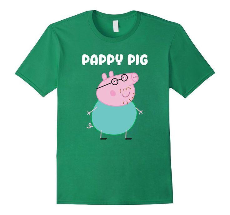 Men's Dad T-shirt: PAPPy PIG Shirt PAPA PIG Tshirt Medium Kelly Green