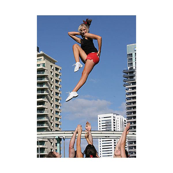 Cheerleading stunt with a pose