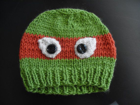Knitted Teenage Mutant Ninja Turtle Hat  Toddler size by MellyJoCo, $13.00