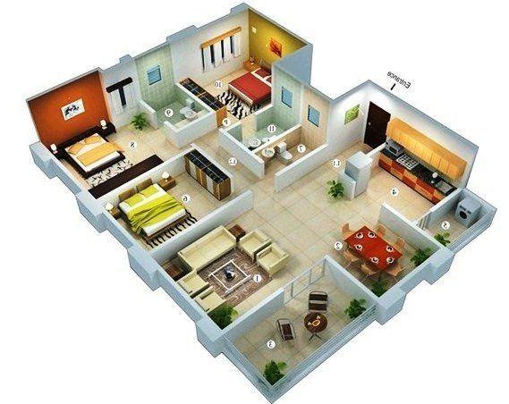 Desain Rumah Minimalis 1 Lantai 3 Kamar Tidur Apartment Berikut Inspirasi Denah Rumah Mini Penthouse Apartment Floor Plan Pool House Plans Luxury House Plans