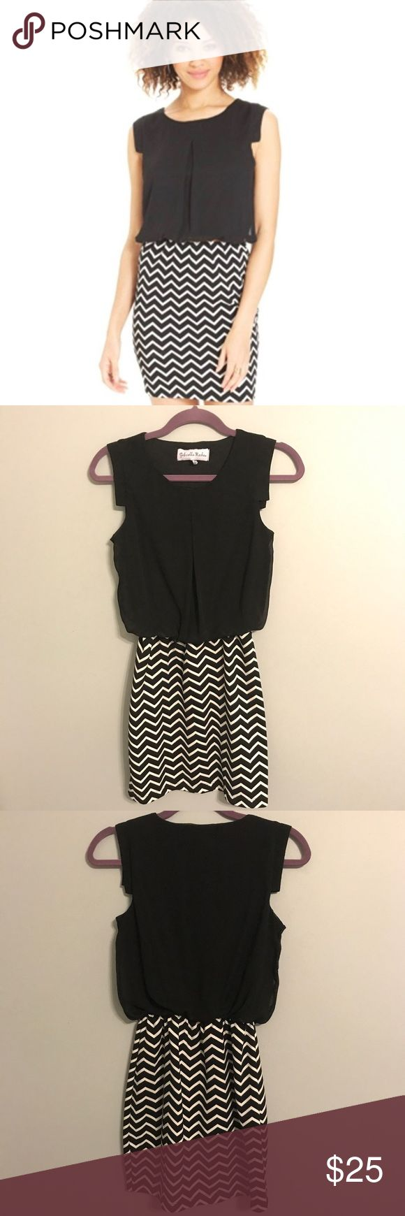 Gabriella Rocha Chevron Dress Gabriella Rocha - Cat Crepe Chevron Dress (Black/Ivory) Women's Dress Size XS. Excellent condition. Belt missing. Gabriella Rocha Dresses