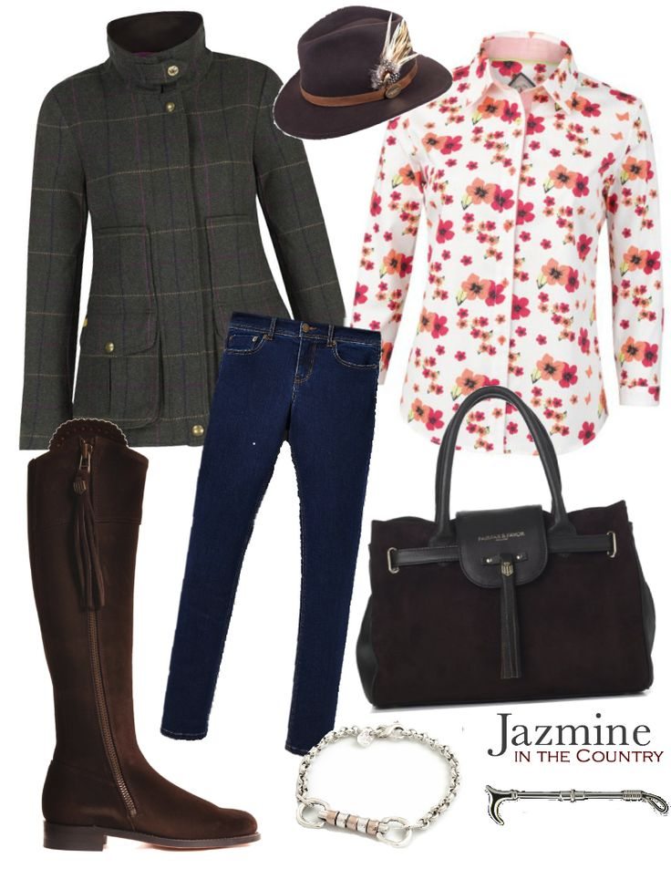 {LRBHT Outfit 1} Fedora - Hicks and Brown The Suffolk Fedora in Dark Brown Coat - Joules Field Coat in Heather Check Shirt - Jack Murphy Rosemary Shirt in Blossom Wonder Jeans - Joules Monroe Skinny Jeans in Dark Indigo Boots - Fairfax & Favour The Regina Suede Boot in Chocolate Handbag - Fairfax & Favour The Windsor in Chocolate Bracelet - Hiho Silver Sterling Silver & 18ct Rose Gold Cherry Roller Snaffle Bracelet Brooch - Sylvia Kerr Buccleuch Pin