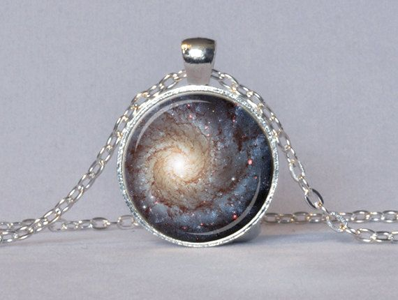 GALAXY PENDANT Star Necklace Blue Cream Red Star Pendant Galaxy Necklace Geek Jewelry Astronomy Pendant Chain Included 25mm. $14.45, via Etsy.