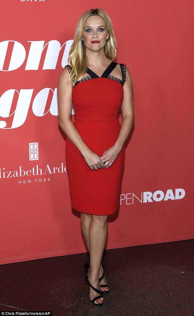 Lady in red: Witherspoon, 41, chose a  red dress by Roland Mouret that flaunted her fab figure