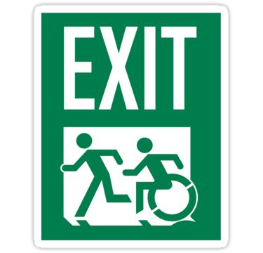 EXIT Sign Stickers, with Accessible Means of Egress Icon 6 for US$8.40. Emergency EXIT Sign, with the Accessible Means of Egress Icon and Running Man, part of the Accessible Exit Sign Project by Egress Group Pty Ltd