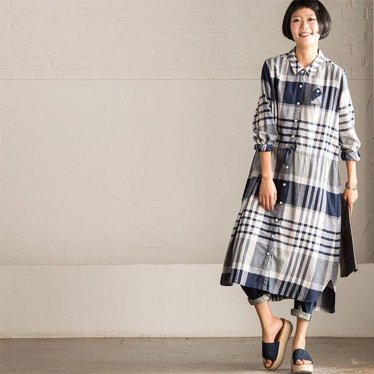 Korean Style Causal Checks Loose Autumn Dress Shirt Women Tops C9233A