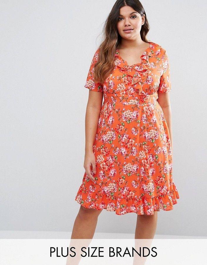 on sale asos lovedrobe ruffle detail printed tea dress