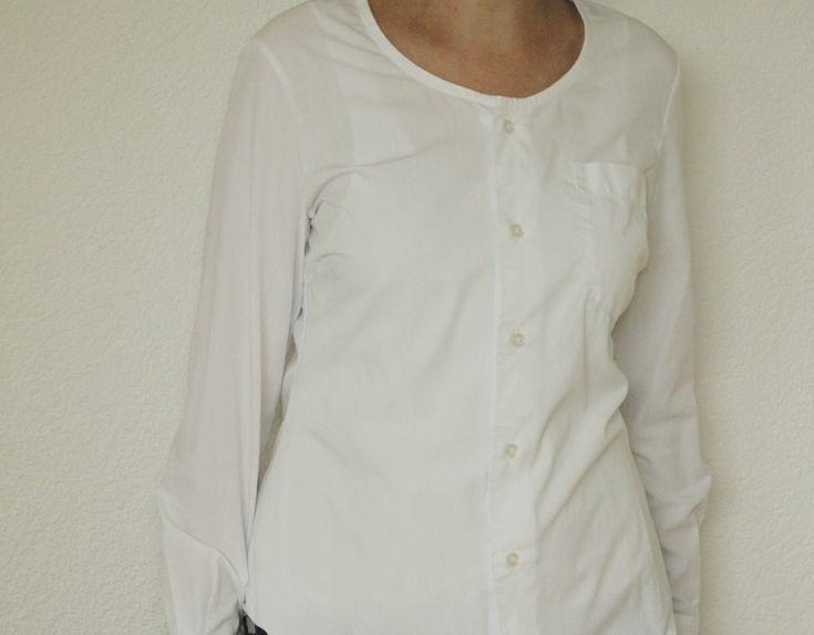 """Ein Herrenhemd, dass an den Kragenspitzen """"Gebrauchspuren"""" hat, eignet sich gut als Upcycling-Projekt um daraus zum Beispiel eine schöne Bluse zu nähen."""
