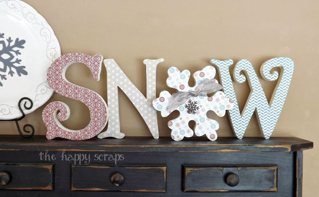 SNOW letters, fabric or scrapbook paper, paint, distress brush