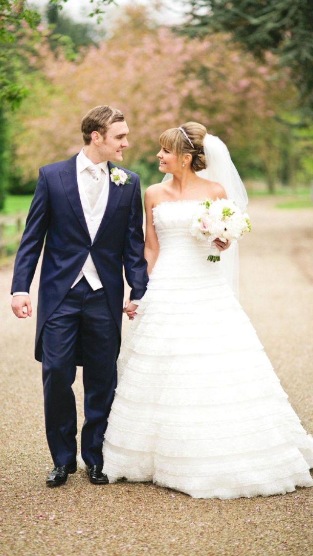 Lace dress navy tails wedding walking