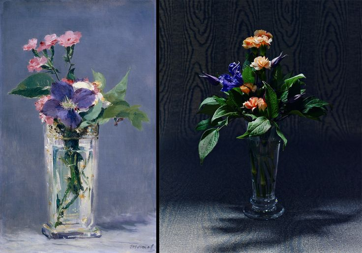 Édouard Manet, Carnations and Clematis in a Crystal Vase,ca. 1882Musée d'OrsayArrangement by Saipua, price upon request, saipua.comAdriana goblet by William Yeoward Crystal, $360, williamyeowardcrystal.comWild Woods fabric in Rocky Mountain Grey by Phillip Jeffries, phillipjeffries.com