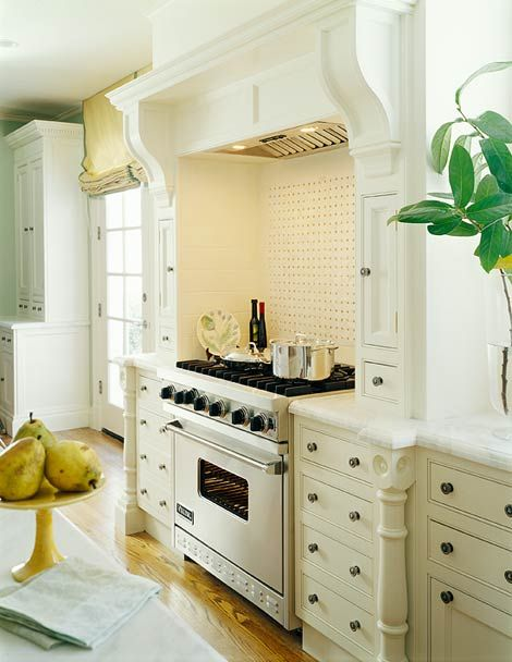 Shelf Framing the range- I love a kitchen with furniture style flair