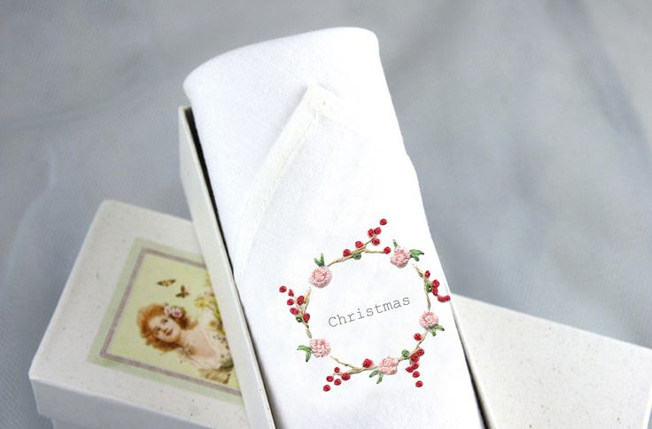 A wonderful gift for her this Christmas! A soft Cotton handkerchief is decorated with hand embroidery. An ideal stocking filler for her. A Christmas handkerchief!