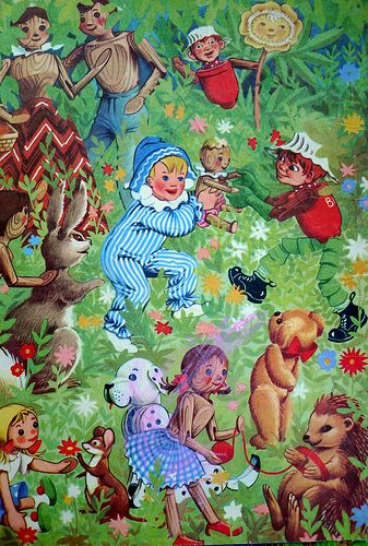Back cover end paper from 'Watch with Mother' a book from the early 1960s filled with BBC children's programme characters.