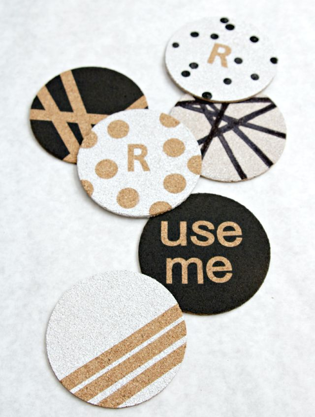 The Lovely Cupboard: Painted Cork Coasters