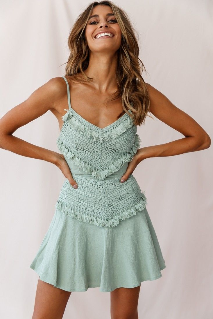 327d2fe25fd Janey Appliqué A-Line Dress Pistachio in 2019