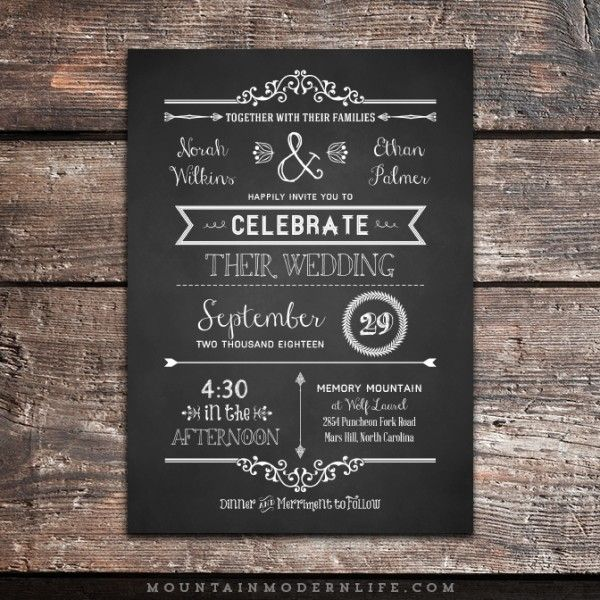 14 best Wedding Invitations images on Pinterest Invitation ideas - chalk board invitation template
