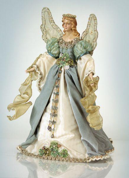 melrose christmas traditions elegant blue and cream angel tree topper unlit angel christmas tree toppers - Angel Christmas Tree Topper