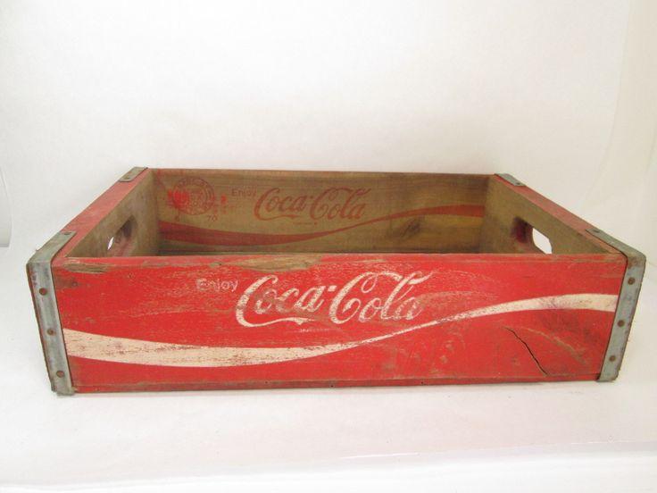 Red Coca Cola Crate, Wooden Coke Box, Industrial Decor, Texas 1970