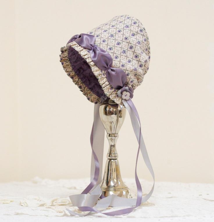 Lavender-Rose baby bonnet -- infant.  photo prop. baby hat. Easter bonnet. prairie bonnet. child. shower.gift. purple. grey.vintage feel.. $36.00, via Etsy.