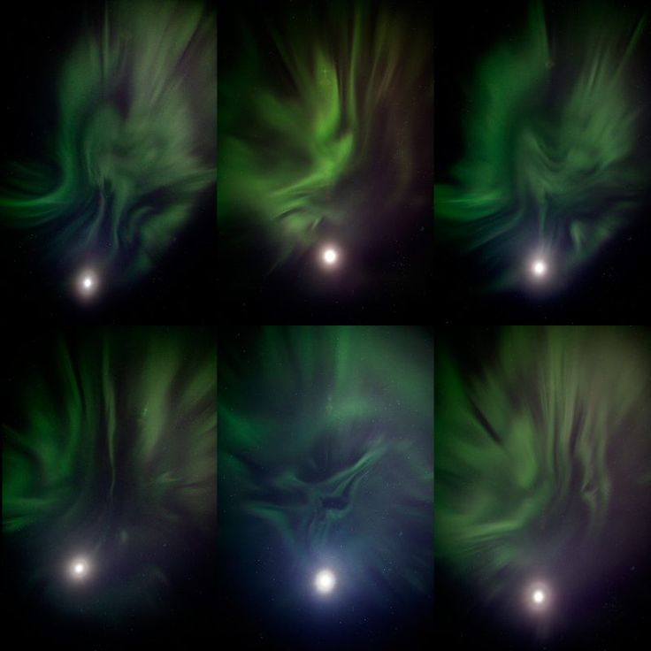 A composite of 6 overhead photos of the aurora and a bright moon – just 3 days past full – from Doug Short in Anchorage, Alaska. November 7, 2017.