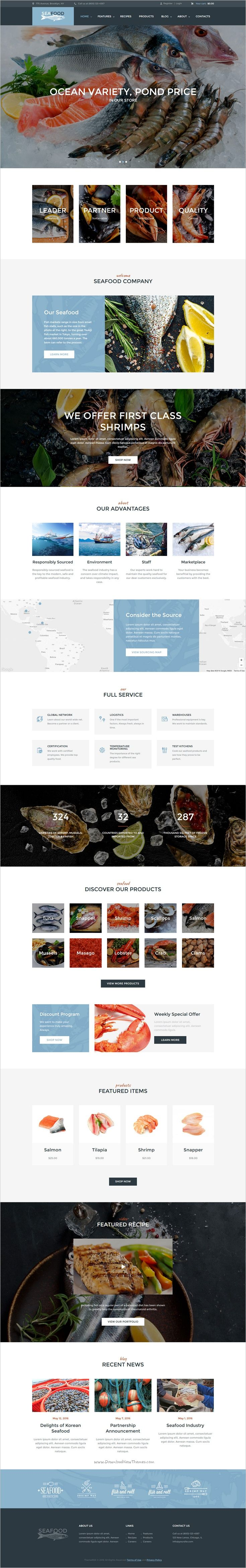 Seafood is a clean and modern design responsive #WordPress #template for #seafood company and #cafe websites with 4 unique homepage layouts download now➩  https://themeforest.net/item/seafood-company-restaurant-theme/18013136?ref=Datasata