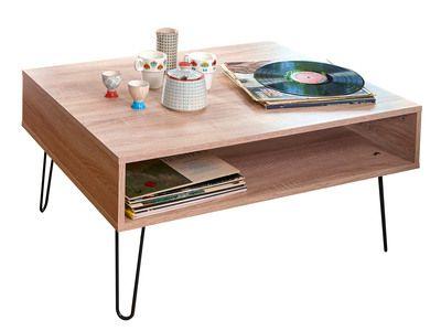Table basse en bois avec range revues et pieds métal L89 cm AERO