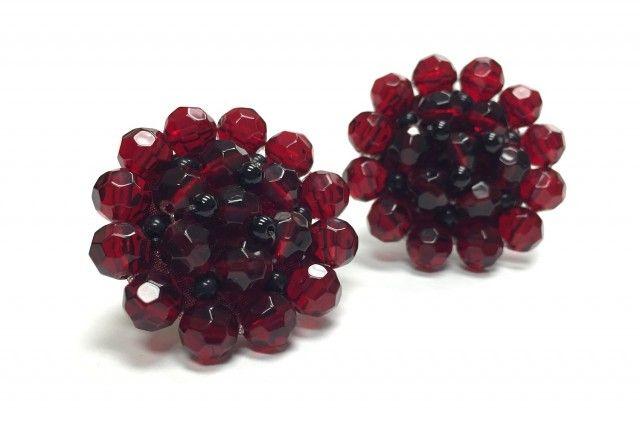 "Angela Caputi ""Bead Burst"" earrings. They're clip-ons!"
