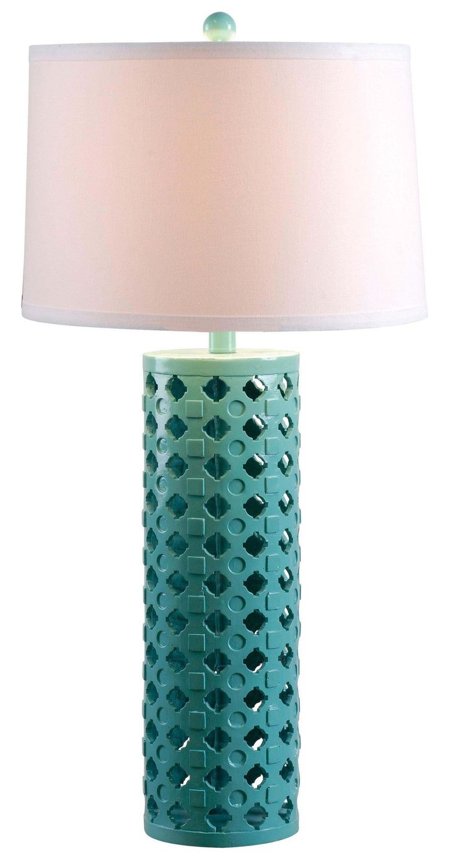 Lime green table lamp - Teal Diamond Cut Table Lamp 30 H
