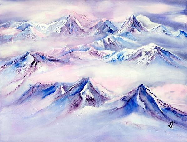 Flying Over Snowy Mountains By Sabina Von Arx Mountain Paintings