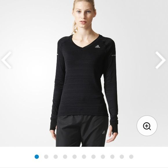 Black adidas long sleeve Super comfy and stretchy long sleeve adidas workout shirt! Can fit a few sizes up. Offers are welcome :) Adidas Tops Tees - Long Sleeve
