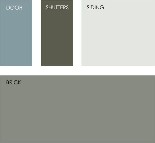 All colors from Benjamin Moore. Clockwise from top left: Province Blue 2135-40, Mohegan Sage 2138-30, Gray Lake 2138-70 and Carolina Gull 2138-40.