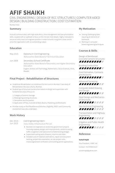 civil engineering intern Resume Example