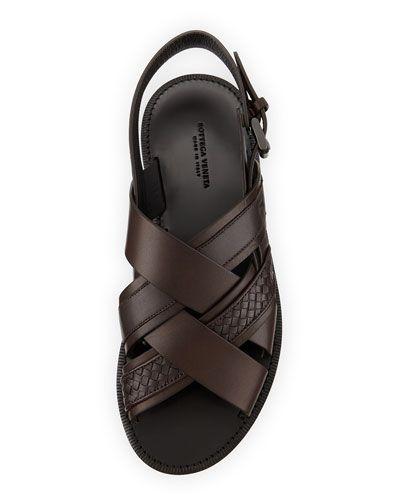 Bottega Veneta criss cross leather sandals