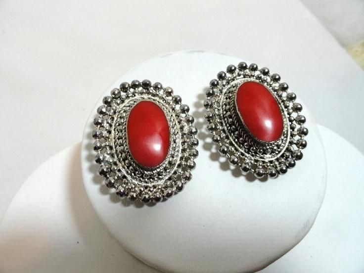 Southwestern Framed Red Lucite Oval Earrings - E175a-071112000. $12.00, via Etsy.